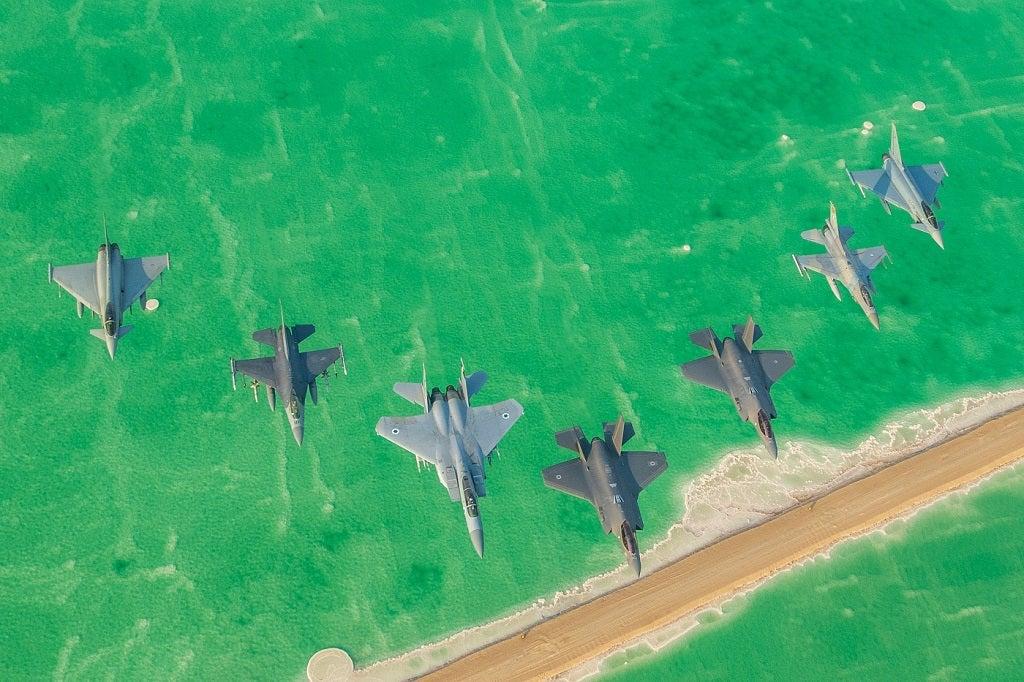 """Una formazione con  gran parte delle tipologie di velivoli partecipanti alla """"Blue Flag 2019"""". (Foto IAF)"""