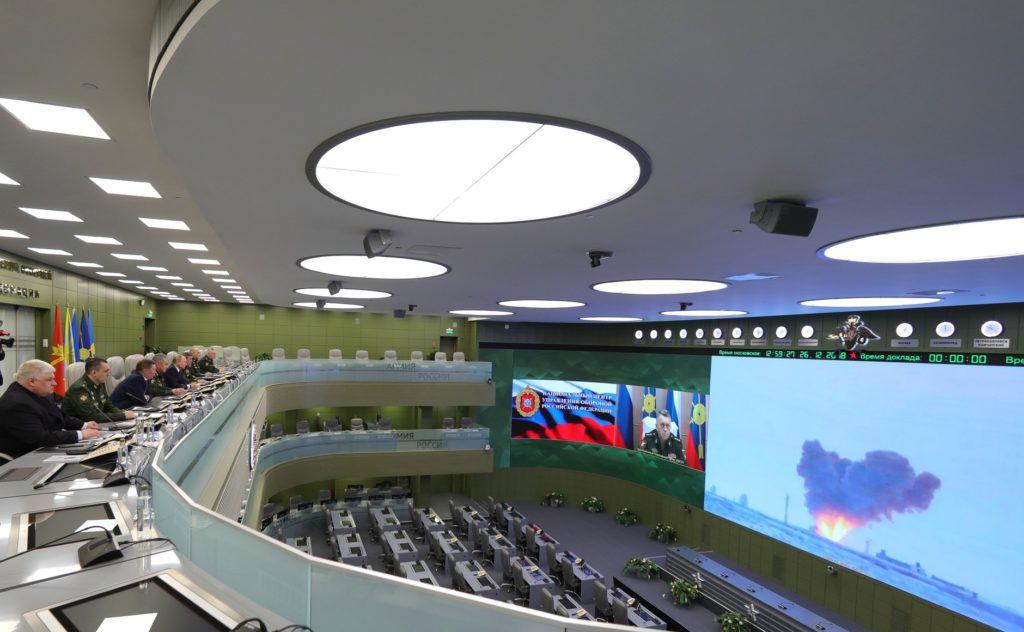 Il presidente russo Vladimir Putin assiste al lancio di un missile con motoaliante ipersonico Avangard effettuato il 26 dicembre 2018.  Russia operativo HGV Avangard Russia operativo HGV Avangard