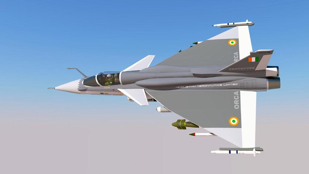 Disegno del futuro Omni Role Combat Aircraft (ORCA), la variante del TEDBF allo studio per l'Aeronautica indiana.  India: appontaggio LCA Navy