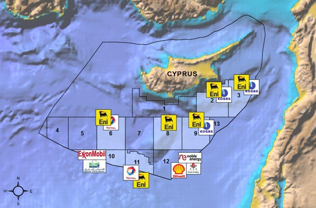 I blocchi di concessione per le prospezioni petrolifere nella ZEE di Cipro  Turchia Cipro Eni