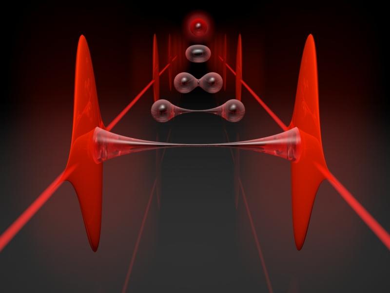 """La condivisione di un singolo fotone costituisce una """"colla quantistica"""" per legare attraverso l'entanglement due distinti impulsi di luce laser. (CNR-INO)  CNR-INO quanti comunicazioni   CNR-INO quanti comunicazioni"""