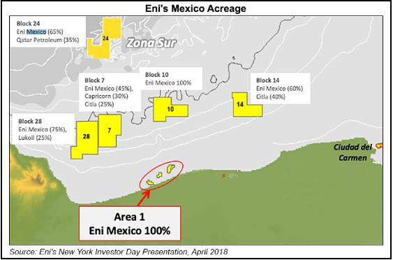 La mappa indica i blocchi di concessione di Eni nel bacino di Sureste nel Golfo del Messico (fonte www.naturalgasintel.com)   Eni giacimento Messico