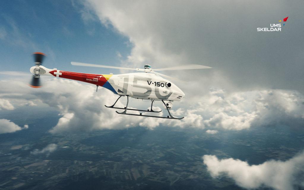 UMS Skeldar sta lavorando a una nuova versione del V-150 con autonomia di volo estesa da 2 ore e mezza a 4 ore. (UMS Skeldar)  UAV decollo verticale V-150  UAV decollo verticale V-150