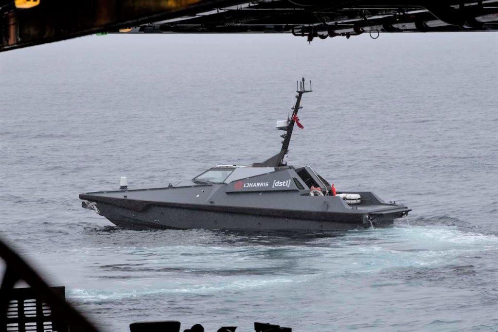 L'USV (Unmanned Surface Vehicle) Mast 13, di L3Harris. (Royal Navy)