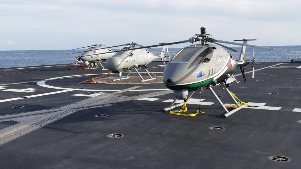 Alcuni AWHERO impiegati il 20 e 21 novembre nell'ambito della dimostrazione di OCEAN2020 (Open Cooperation forEuropean mAritime awareNess), il progetto europeo di ricerca militare per la sorveglianza in mare con il supporto di sistemi a pilotaggio remoto. (Leonardo Helicopters)
