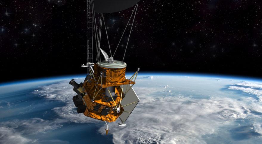 Rappresentazione artistica del nuovo satellite WSF-M (Weather System Follow-on – Microwave). (Ball Aerospace)