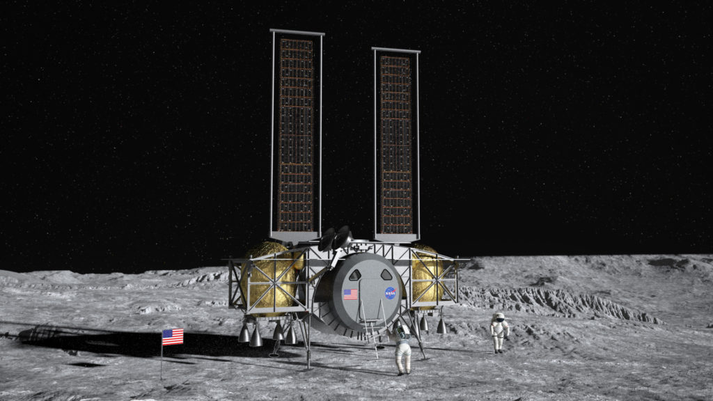 Un'altra rappresentazione del HLS dopo un ipotetico atterraggio sul suolo lunare. (Thales Alenia Space)