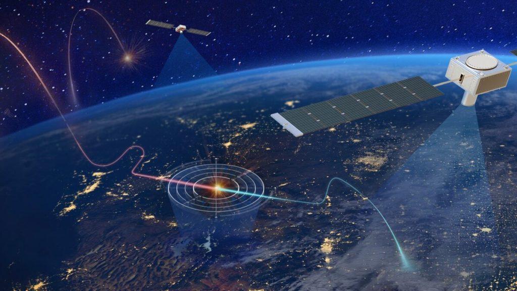 Una potenziale architettura per l'utilizzo dei satelliti allo scopo di tracciare missili o moto-alianti ipersonici. (Northrop Grumman)   USA satelliti armi ipersoniche   USA satelliti armi ipersoniche
