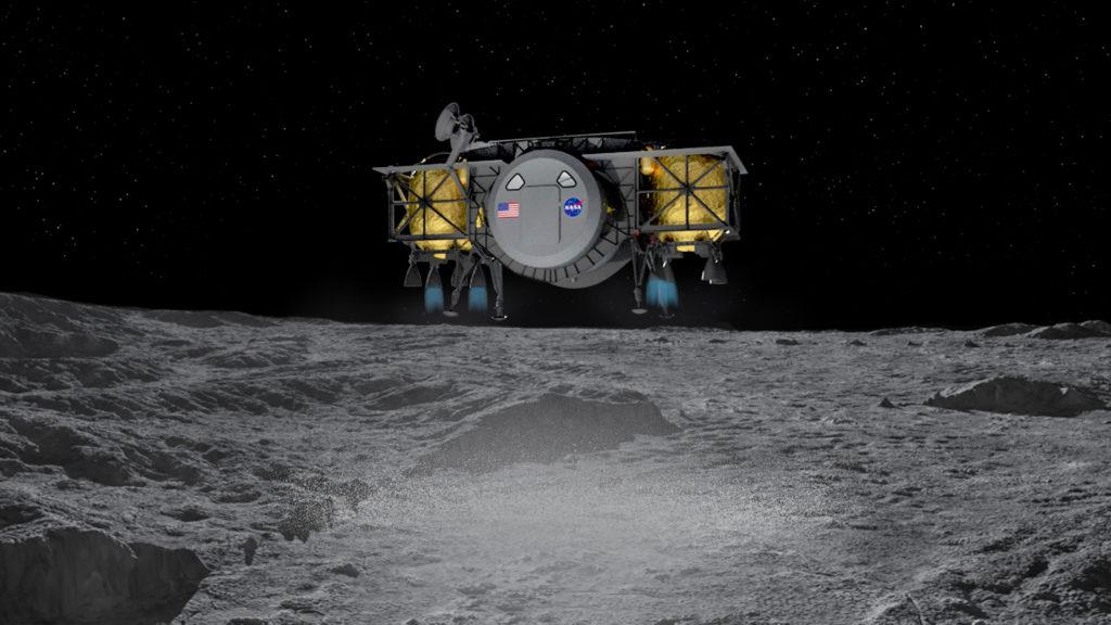 Rappresentazione artistica dello Human Landing System (HLS), il modulo di atterraggio proposto dal consorzio internazionale guidato da Dynetics e del quale fa parte Thales Alenia Space. (Thales Alenia Space)  Thales Luna NASA   Thales Luna NASA