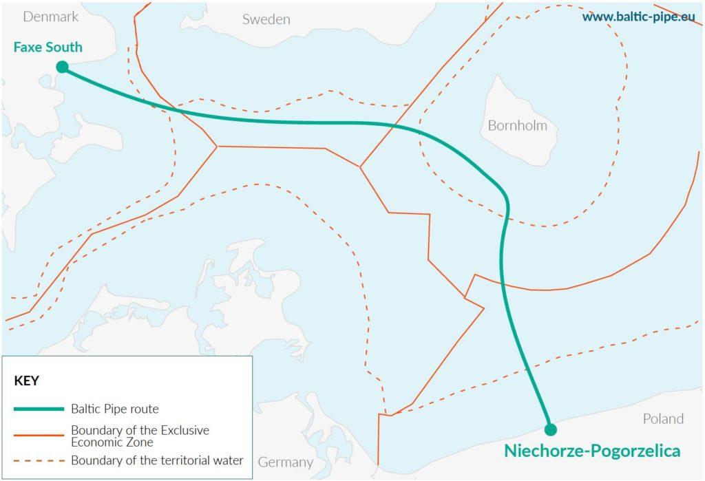 Il tracciato del gasdotto Baltic Pipe. (Foto da: Baltic Pipe website)