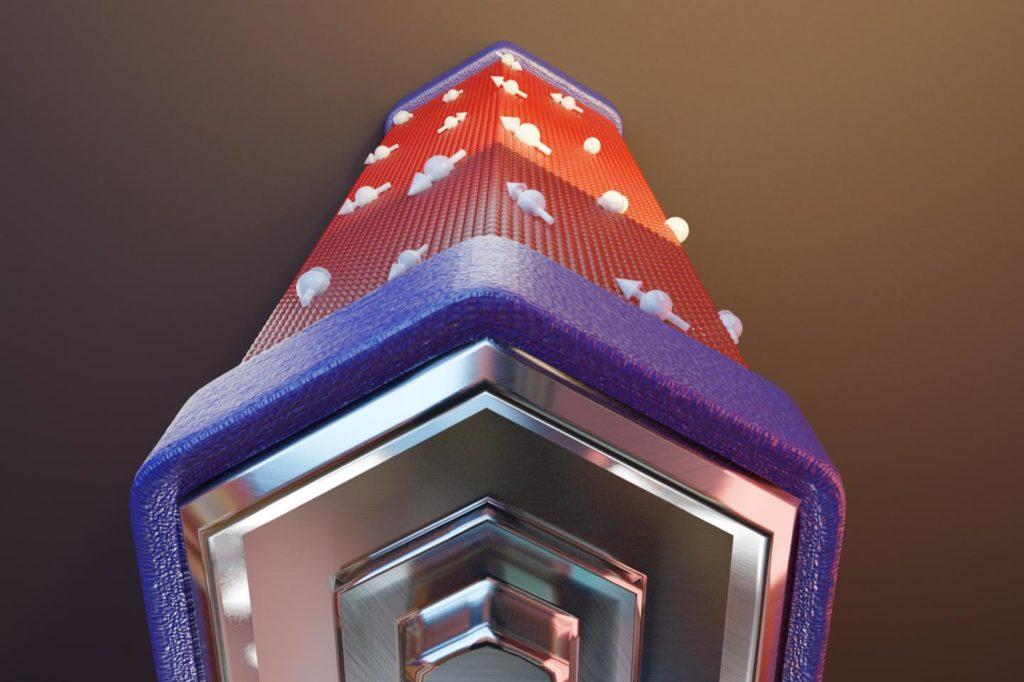 Immagine artistica di una batteria a fase quantica. I poli (blu) costituiti da elettrodi superconduttivi di alluminio e il corpo centrale (rosso) formato da un nanofilo di Arsenuro di Indio. (Immagine realizzata da Andrea Iorio della Scuola Normale Superiore di Pisa)