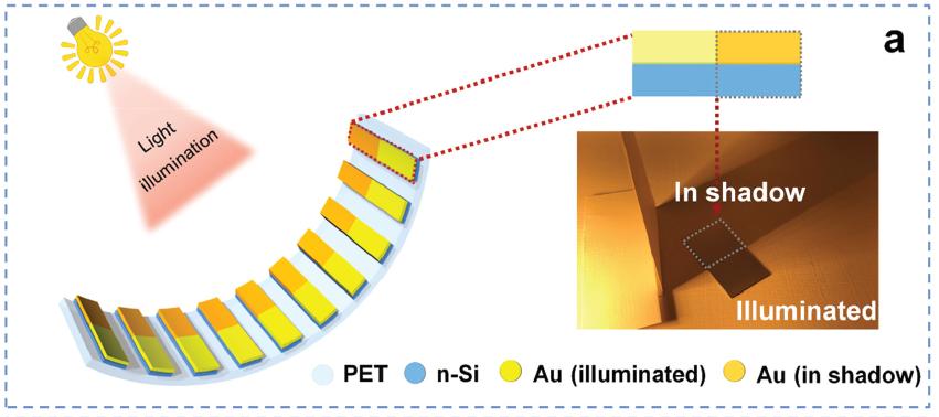 Un'illustrazione schematica del SEG. Il riquadro è l'immagine fotografica di una cella SEG parzialmente in ombra. (Immagine da: Rivista Energy & Environmental Science della Royal Society of Chemistry)