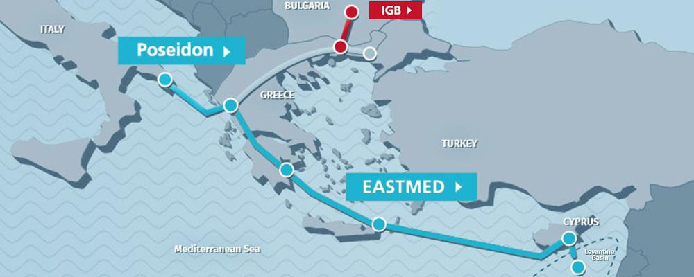 Mappa EastMed. (Immagine da: Edison)