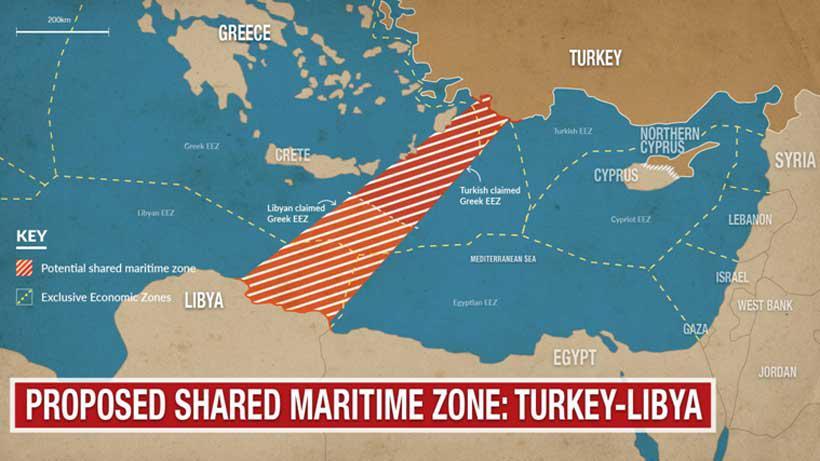 Zona marittima condivisa Turchia - Libia. (Foto dalla rete)