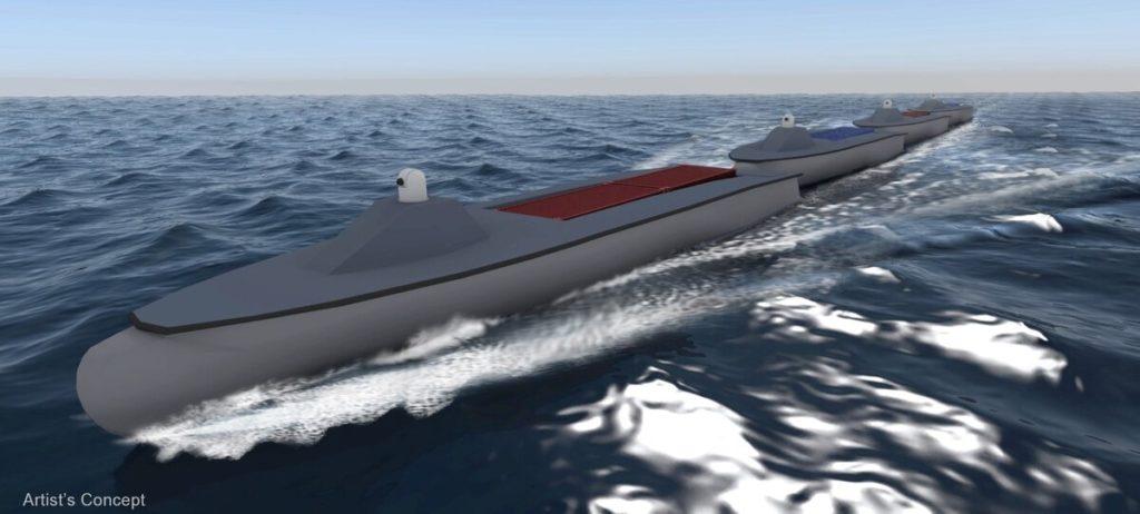 """Il concetto Sea Train (treno marittimo) della DARPA dovrebbe consentire a un convoglio di unità di superficie """"unmanned"""" di medie dimensioni di viaggiare attraverso l'oceano senza rifornirsi di carburante, prima di dividersi per condurre operazioni indipendenti. (Defense Advanced Research Projects Agency)  droni marittimi  droni marittimi  droni marittimi  droni marittimi"""