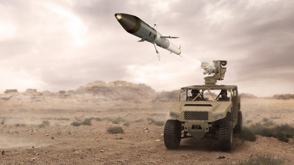Rappresentazione d'artista di un veicolo terrestre che lancia un razzo APKWS. (BAE Systems)