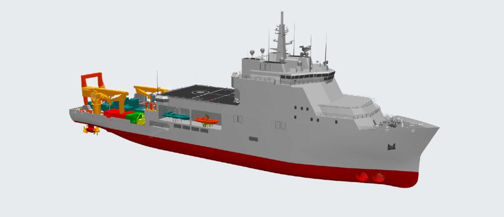 La futura unità SDO-SuRS (Special & Diving Operations - Submarine Rescue Ship) della Marina Militare che andrà a sostituire Nave Anteo nelle funzioni di supporto alle operazioni subacquee e a quelle di ricerca, identificazione, soccorso e salvataggio dell'equipaggio di sommergibili sinistrati. (Fincantieri)