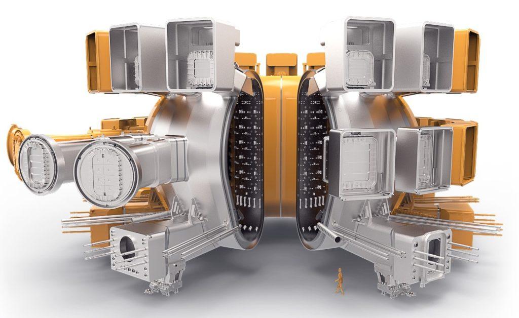 Il contenitore in acciaio inossidabile a doppia parete, ermeticamente chiuso, che ospiterà le reazioni di fusione e fungerà da prima barriera di contenimento di sicurezza. (ITER Organization)