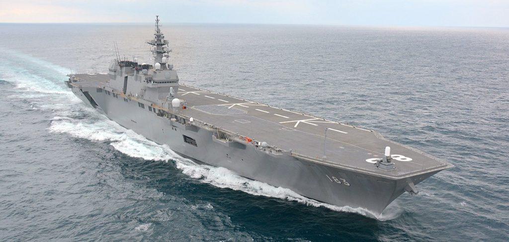 La JS Izumo (DDH-183), prima delle due unità dell'omonima classe di cacciatorpediniere portaelicotteri della JMSDF (Japan Maritime Self-Defense Force), ha iniziato i lavori di conversione in portaerei nel mese di giugno.   Giappone conversione  Izumo portaerei   Giappone conversione  Izumo portaerei