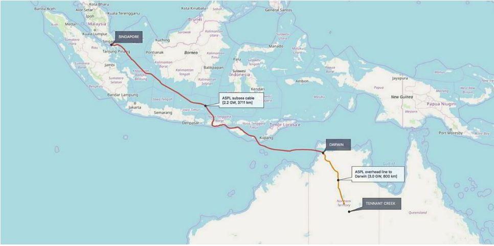 AAPL fornirà elettricità a Darwin e alla regione ASEAN attraverso l'utilizzo di un cavo sottomarino. (Immagine da: Sun Cable)