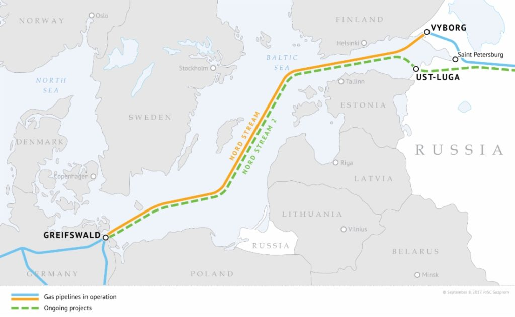 La mappa mostra il tracciato dei due gasdotti Nord Stream e Nord Stream 2. (Immagine da: Nord Stream 2)