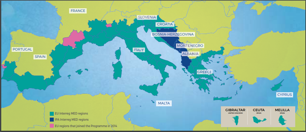 "Mappa aree interessate da Interreg-MED. (Immagine da: brochure ""MED with us – explore the Interreg MED Programme"")"