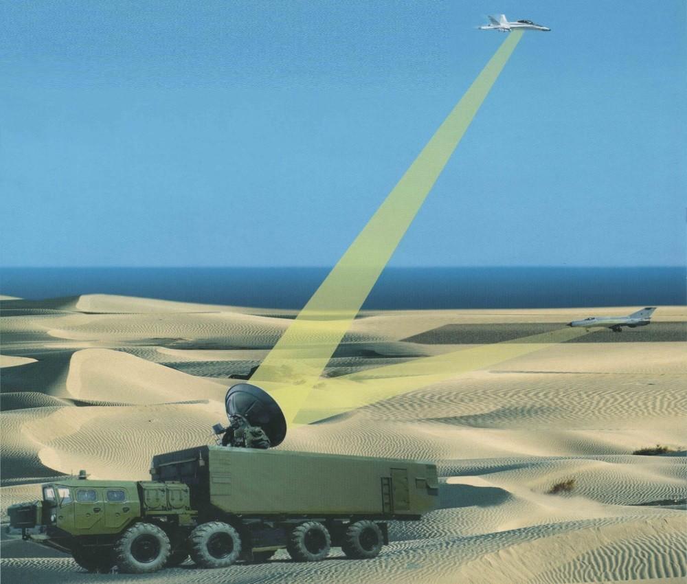 Rappresentazione d'artista di un'arma elettromagnetica impiegata da piattaforma veicolare contro obiettivi aerei.  Russia   Russia  Russia  Russia