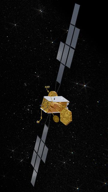 Rappresentazione artistica del satellite per le comunicazioni militari Skynet 6A, il cui lancio in orbita è previsto nel 2025. (Airbus Defence & Space)