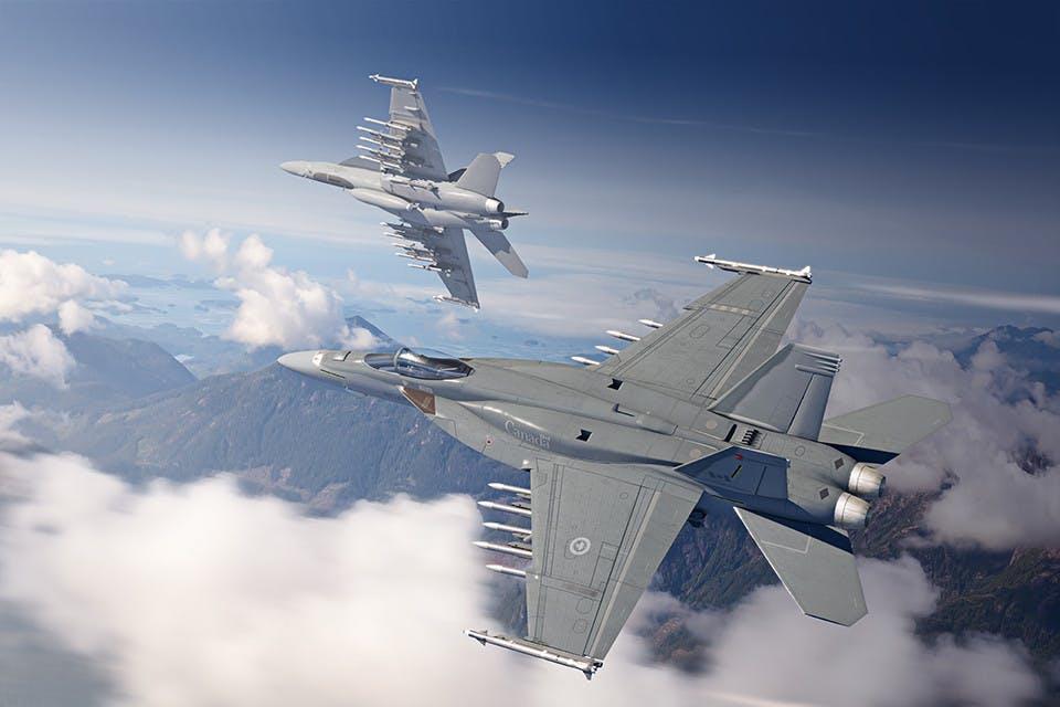 La concept art di Boeing mostra due Super Hornet con il poderoso armamento di 12 missili AMRAAM e 2 Sidewinder. (Boeing)