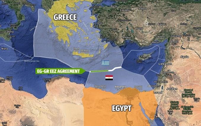 Nella mappa sono evidenziate le ZEE delimitate dall'accordo greco-egiziano del 6 agosto. (Immagine da: Greek City Times)
