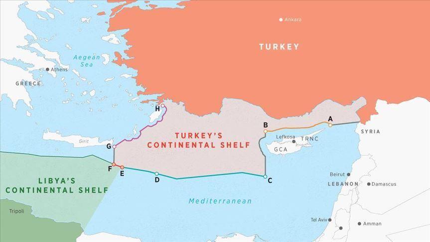 Nella mappa sono evidenziate le ZEE delimitate dall'accordo sottoscritto da Turchia e Libia nel novembre 2019. (Immagine da: Anadolu Agency)