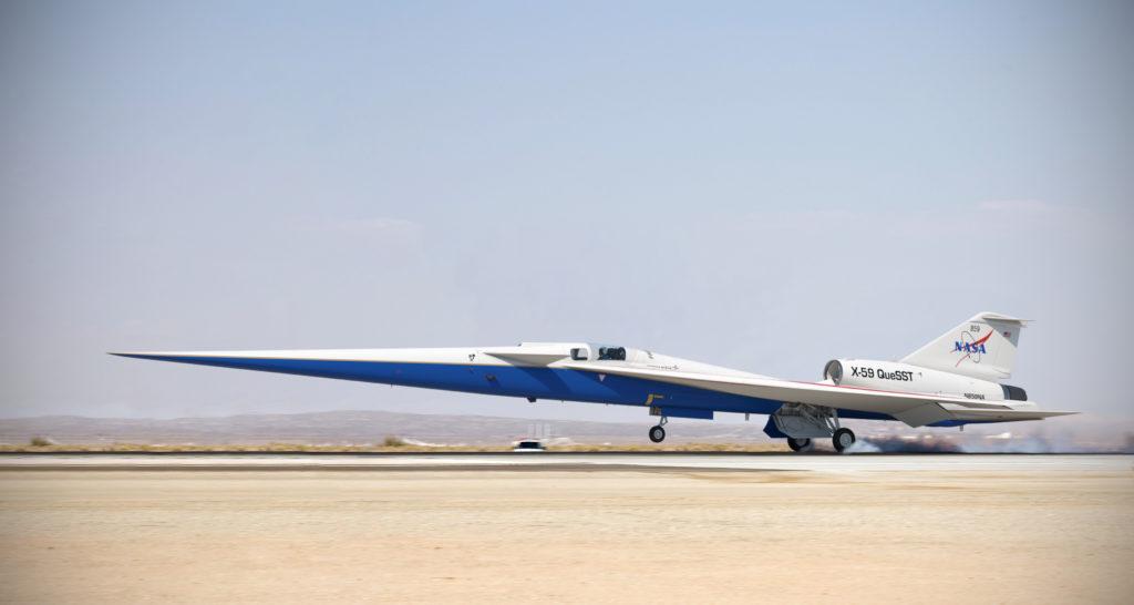 La NASA ha sperimentato un aereo monoposto supersonico low-boom, l'X-59 QueSST costruito da Lockheed Martin. (Foto da NASA)
