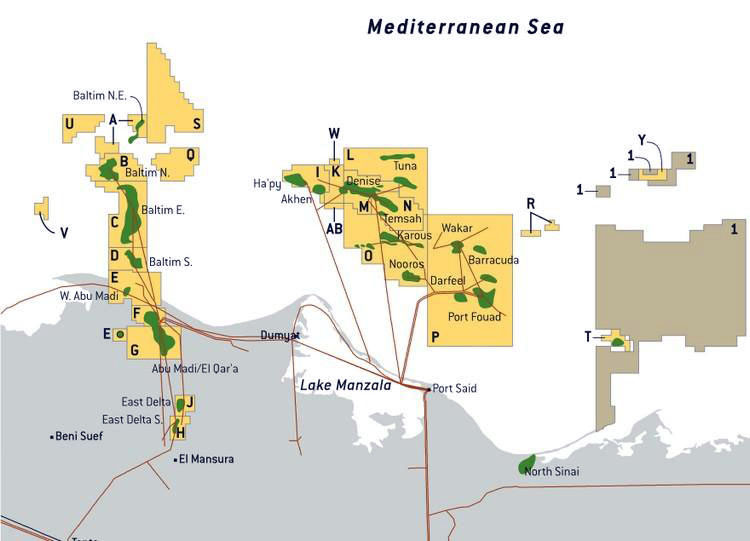Una mappa dei giacimenti egiziani. (immagine da EnergyEgypt)