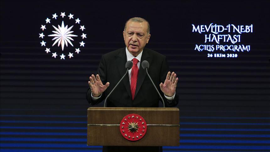 Il presidente turco Erdogan. (Foto da Anadolu Agency)