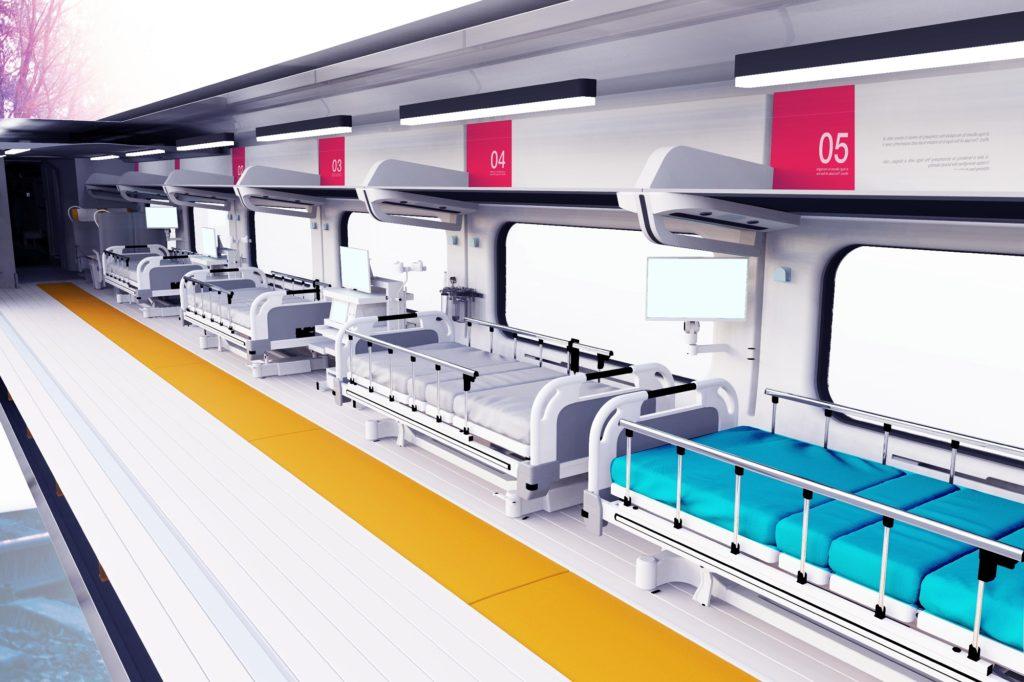 Immagine interna ICUTRAIN (Intensive Care Unit TRAIN). (Fonte: SITAEL)  treno  treno  treno