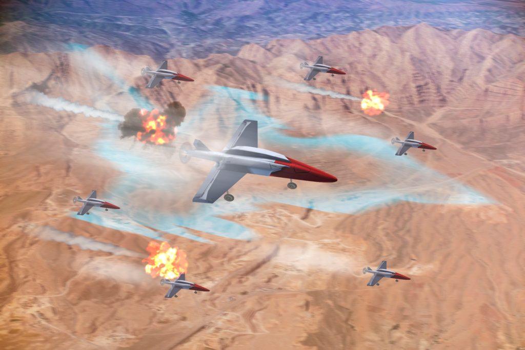 """Rappresentazione d'artista del concetto di """"swarming drones"""". (Leonardo)"""