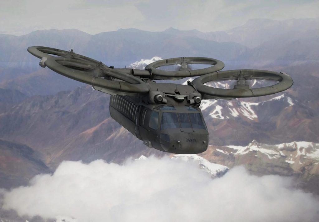 Un futuristico velivolo ad ala rotante dell'US Army in una rappresentazione grafica dell'Aviation and Missile Research, Development and Engineering Center (AMRDEC) VizLab dell'Esercito statunitense. (US AMRDEC)