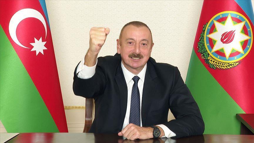 """Il presidente dell'Azerbaigian, Ilham Aliyev, ha twittato: """"Questa è una giornata storica. Si pone fine al conflitto Armenia-Azerbaigian nel Nagorno-Karabakh."""" (Foto da Anadolu Agency)"""