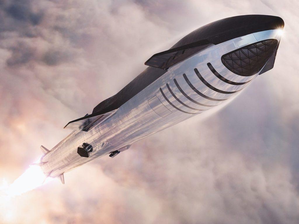 Rappresentazione artistica della navicella Starship e del booster Super Heavy, entrambi sviluppati da SpaceX, lanciati dalla Terra verso lo spazio. (SpaceX)  logistico veicoli spaziali  logistico veicoli spaziali  logistico veicoli spaziali