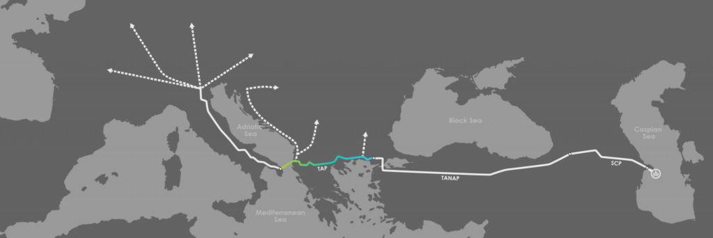 Il Corridoio Meridionale del Gas comprende tre gasdotti: la South Caucasus Pipeline (SCPX) che parte dall'Azerbaigian e prosegue per la Georgia, la Trans Anatolian Pipeline (TANAP) che attraversa la Turchia, e il TAP che attraversa Grecia, Albania e arriva in Italia. (Immagine da TAP)