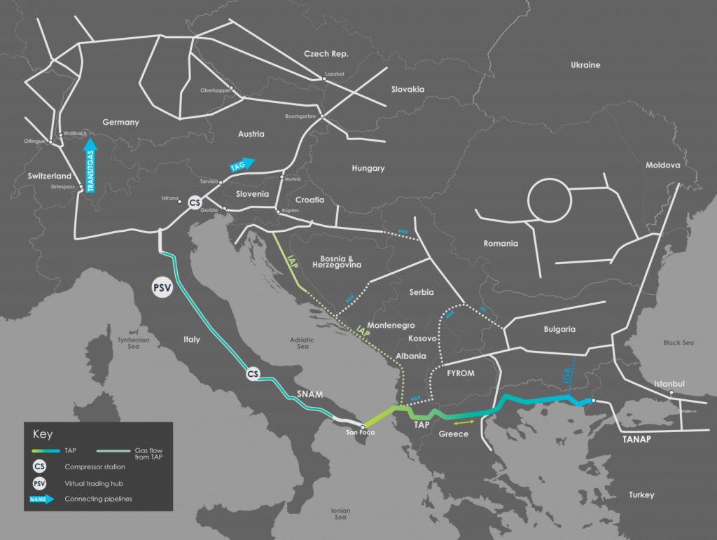 TAP in Italia si è collegato a alla rete nazionale, dalla quale in seguito potranno essere raggiunti tutti i punti di uscita italiani verso le destinazioni europee. (Immagine da TAP)  Trans-Adriatic Pipeline  Trans-Adriatic Pipeline  Trans-Adriatic Pipeline  Trans-Adriatic Pipeline