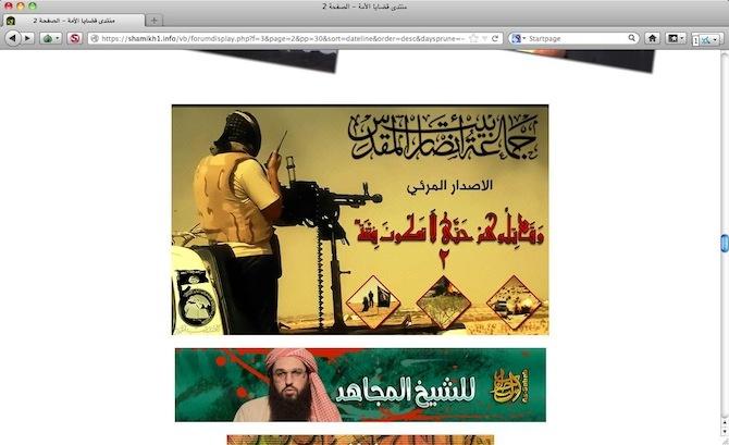 Screenshot di un forum jihadista.