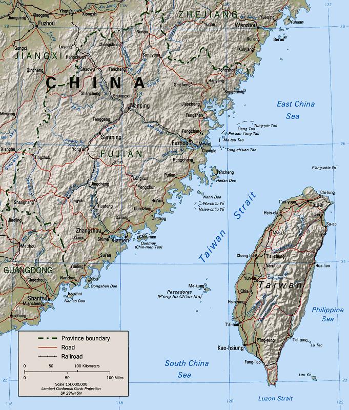 Lo stretto di Taiwan (o di Formosa), nell'Oceano Pacifico.