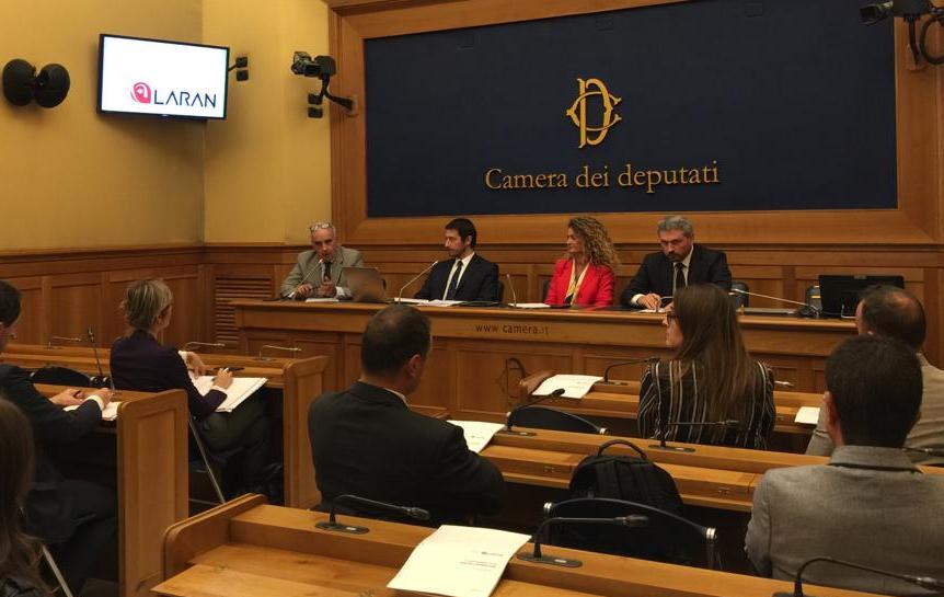 Un momento della conferenza stampa di presentazione di Laran, il 17 ottobre 2019