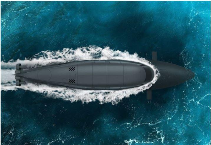 Il VICTA si tuffa sotto il pelo dell'acqua. Il passaggio dalla navigazione in superficie a quella in immersione richiede appena due minuti. (SubSea Craft)   SubSea Craft BAR VICTA