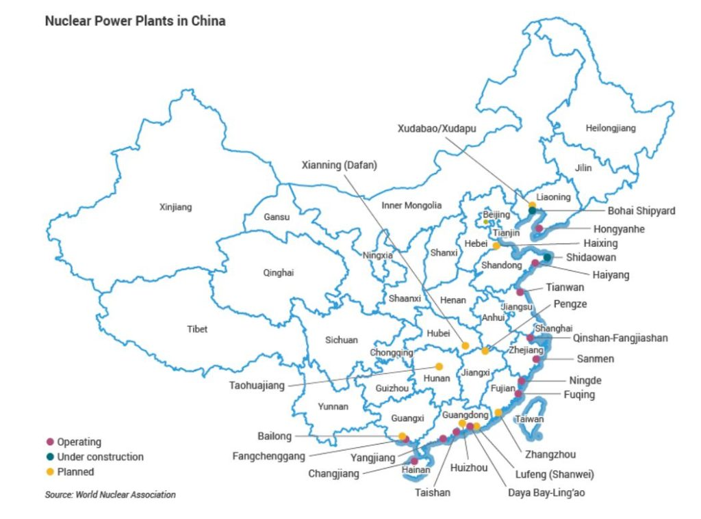 Le centrali nucleari in Cina. (Immagine da World Nuclear Association)