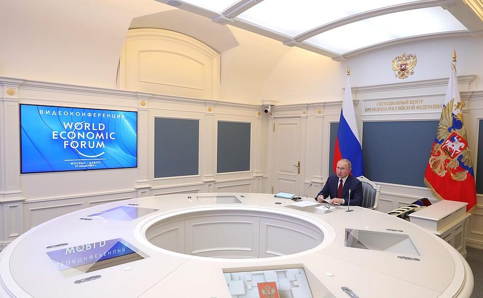 Il presidente russo Vladimir Putin in video all'incontro virtuale del World Economic Forum di Davos. (Foto da account Twitter del Cremlino)