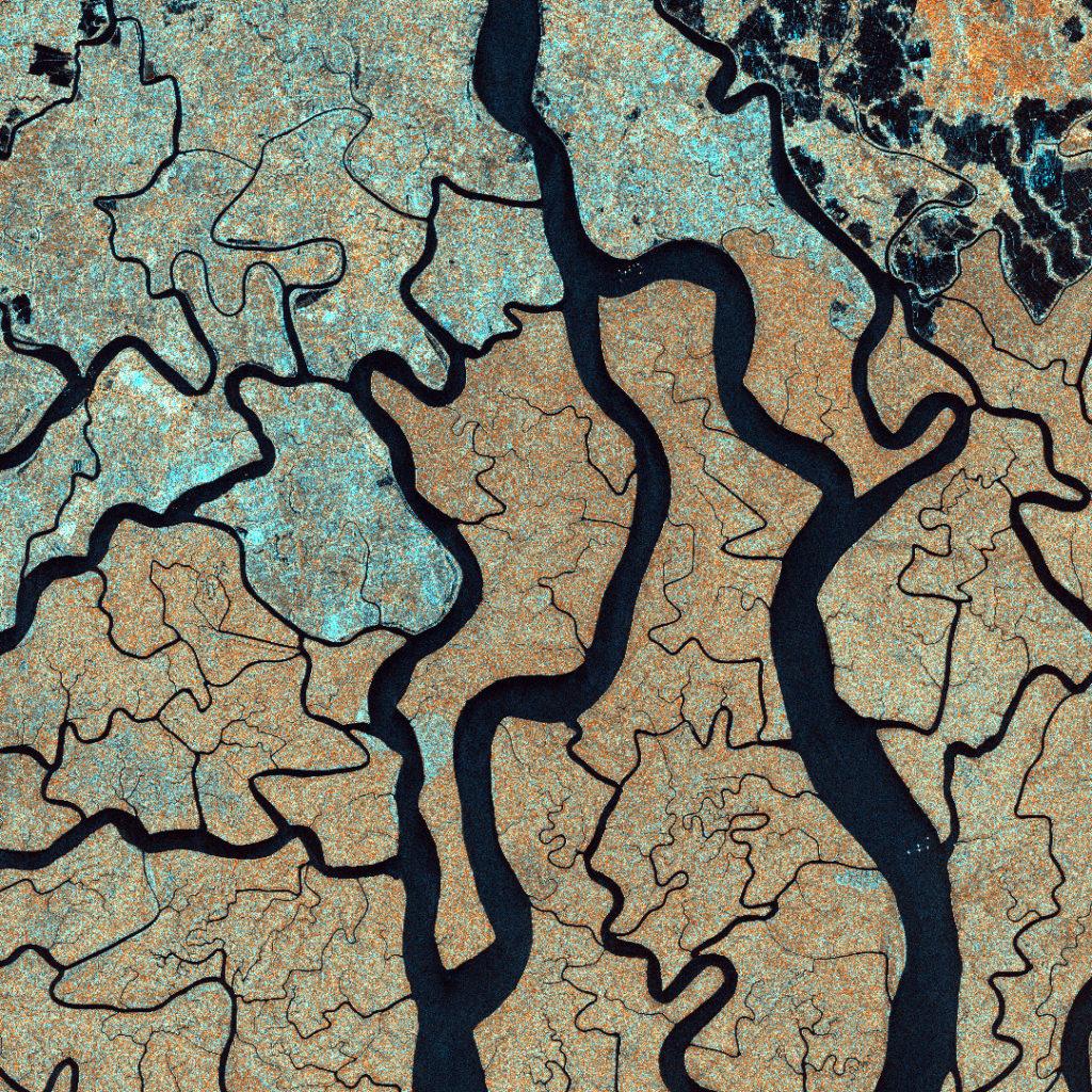 Un'immagine del delta del fiume Gange, catturata dal SAOCOM 1A il 23 novembre 2020.