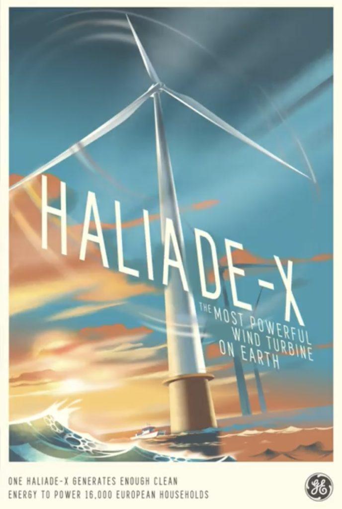 La turbina eolica Haliade-X, qui raffigurata, è considerata la più potente di sempre (Foto da account Facebook della General Electric)  futuro energia eolica Haliade-X futuro energia eolica Haliade-X