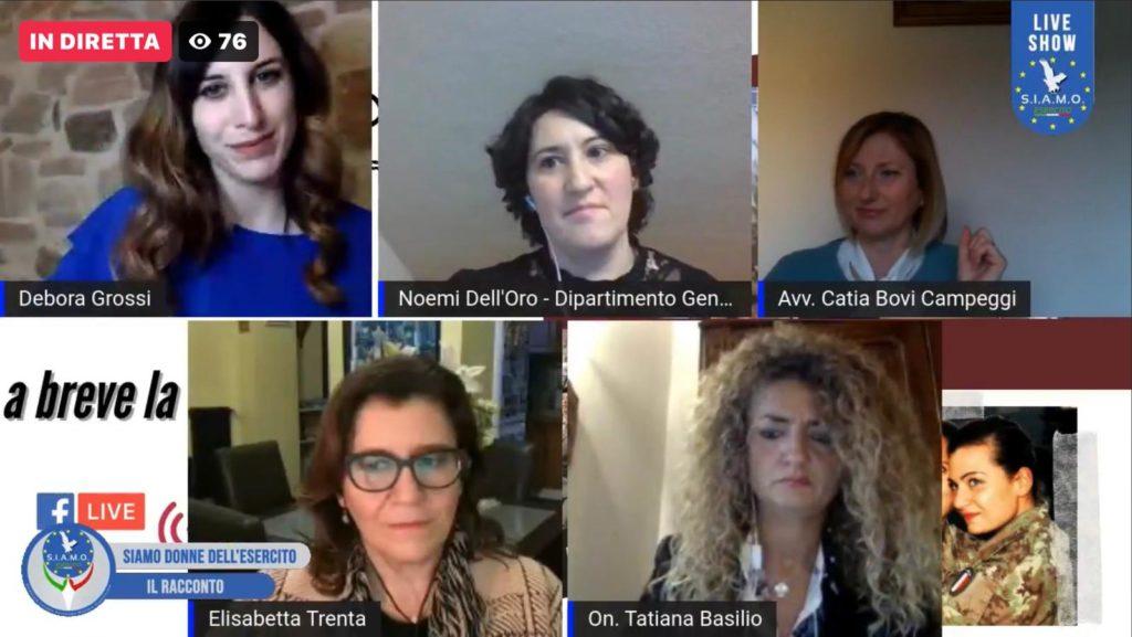 """Il panel del webinar """"Siamo Donne dell'Esercito"""", del quale faceva parte anche l'ex ministro della Difesa Elisabetta Trenta.  Tatiana Basilio  Tatiana Basilio"""